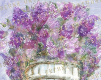 MISTY MORNING LILACS ~ Original Painting by Artchiver