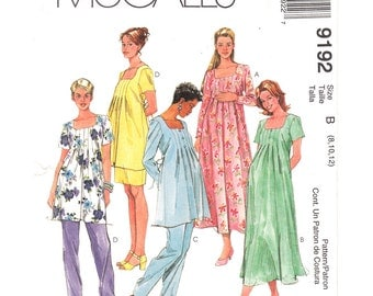 Maternity Pattern McCalls 9192 Pleated Square Neck Dress or Top, Pants & Skirt Adjustable Waist Womens Sewing Pattern Size 8 10 12 UNCUT