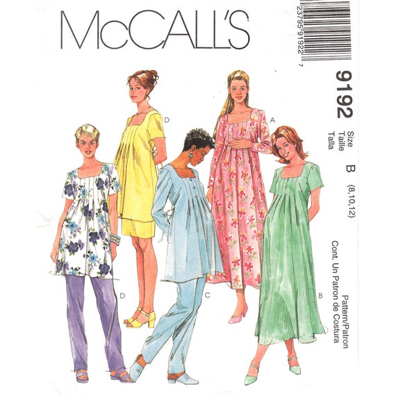 Maternity Sewing Pattern McCalls 9192 Pleated Dress or Top, Pants, Skirt Womens Size 8 10 12