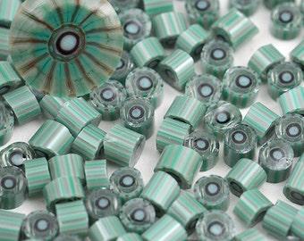 HARBOR MIST - SRA Handmade Lampwork Murrini Chips for Glass Bead Artists by CCGlassArt - coe 104 - millefiore - soft teal dove grey stripes