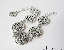Silver Plated Celtic Knot Link Bracelet - Celtic Knot Dangling Charm (SPBR2)