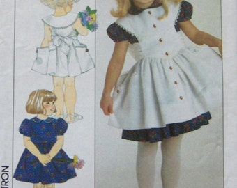 vintage 1990 simplicity pattern 9638 girls dress and pinafore or sundress sz 3-6X
