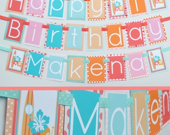 Girl Surfing Birthday Party Banner Fully Assembled Decorations