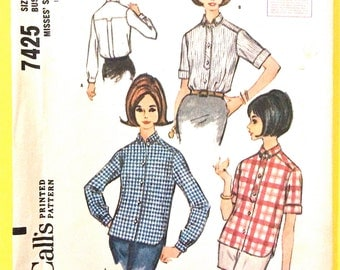 1960s Misses' Blouse McCalls 7425 Button Front Blouse Yoke Back Box Pleat short sleeves long sleeves Vintage Sewing Pattern Bust 38 Waist 30