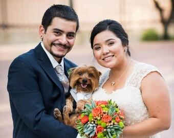 Dog Tuxedo Wedding Party Bandana Gray Suit Sz XS S M
