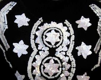 WOOL CONSTELLATIONS STARS  Wool and Acrylic Soft sweater, 1980s 80s