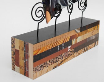 photo holder- made with recycled magazines- neutral colors, unique, photo display block, wood block, recycled, brown