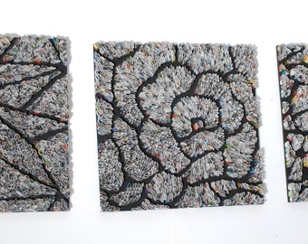 Set of 3 modern wall art - made with recycled magazines, grey, modern, home decor, interior design, delicate, unique, geometry, petals