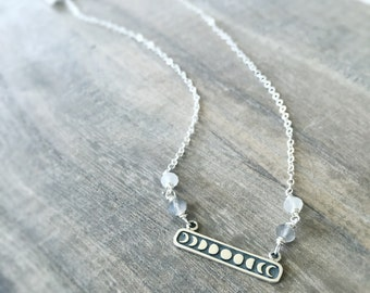 Moon Phases Necklace, Phases of the Moon, Moonstone Jewelry, Sterling Silver Necklace, Sterling Moon Pendant, New Moon, Full Moon, Crescent