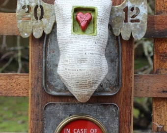 "Assemblage Art Found Object Shrine Mixed Media ""Incase of Love..."""