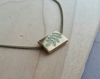 Gold Plated Charm Necklace Stamped Fern  - Minty Fern .