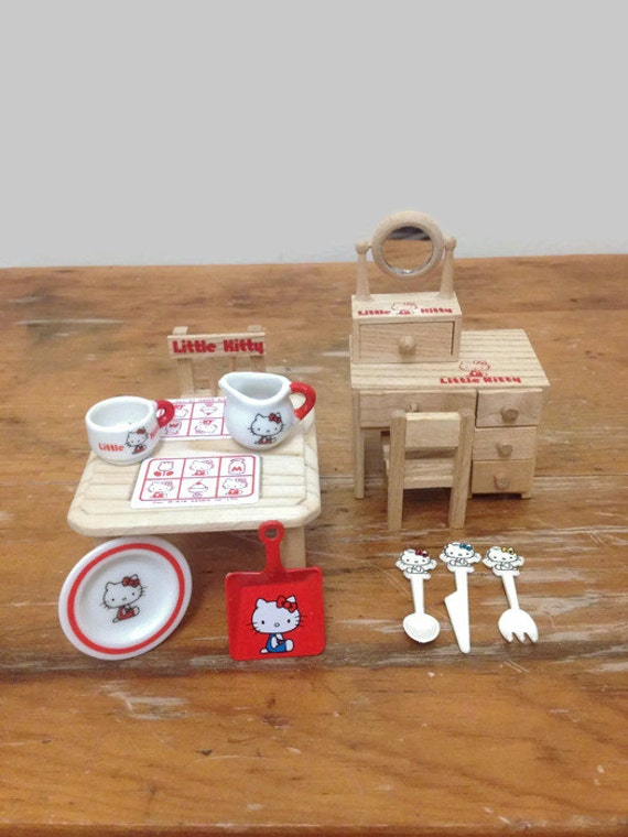 Collection of Vintage Little Kitty Sanrio Collectible Miniatures - Hello Kitty 1976 Japan - Dishes, Furniture, Garden Tool