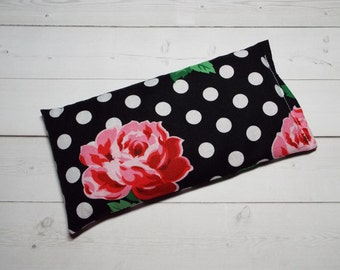 lavender eye pillow aromatherapy black white dots roses flax seeds - yoga mask - spa sleep relaxation stress relief - bridesmaid floral
