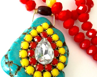 Statement Bohemian Necklace with a large Turquoise slab and swarovski rhinestones, color blast with candy colors, neon statements