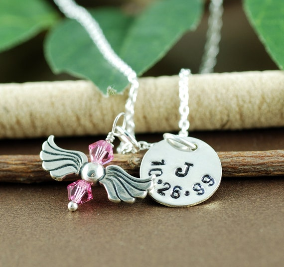 Remembrance Necklace, Personalized Initial Necklace, Silver Initial and Date Necklace, Hand Stamped Jewelry, Gift for her, Gift for Mom