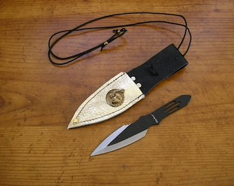 "5.5"" Knife with sun & moon charm, gold metallic leather neck sheath, can also be worn on your belt, adjustable cord is 30"" long"