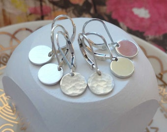 Hammered Silver Earrings, Everyday Jewelry, Sterling Silver Leverback Lever back Drop Dangle Simple Round Circle Disc Coin Brushed Polished