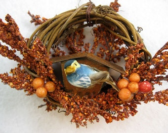 Bird and Rustic Birdhouse Christmas Ornament 403