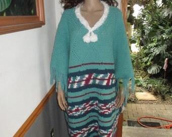 Wool Blanket Poncho  Fringed Re-Purposed Grandma's Vintage Handmade  Afghan Blanket Winter Poncho with Arm Holes