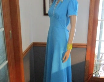 Womens Dress  Blue Belted Maxi Dress  ~ Short Sleeves - Long Polyester Vintage Dress
