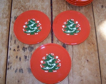 Waechtersbach Plates, Christmas Tree, Set of 3, Salad Plates, Red Pottery, Green Trees, White Stars, German Pottery, Vintage