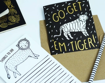 Go Get 'Em Tiger Card, Graduation Card, Congratulations Card, Gold Foil, Happy Mail, Gold Tiger Card, Blank Card, Thinking Of You Card