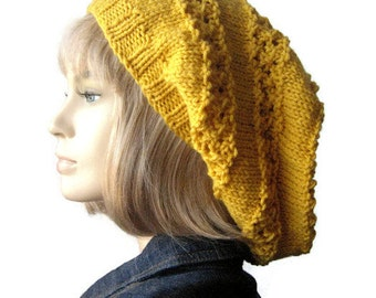 The Stacey Hat, Yellow Lace Striped Knit Slouchy, Women Hand Knit Hat Vegan Hat, Spring Fashion Knit Yellow Hat Knitted Hat