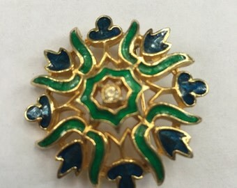 Vintage Polcini Blue & Green Enamel Rhinestone Flower Pin