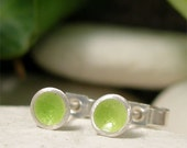 Tiny Circle Stud Earrings, Modern Minimalist Colourful Dot Earrings, Simple Enamel Silver Everyday Stud Earrings, Lime Green Glass Enamel