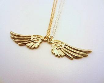 Friendship necklaces, angel wings. Gold charm necklaces. Best friend gift. Gold- or silver-toned chains. Little necklace.