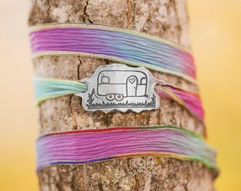 Vintage Camper Silk Wrap Bracelet/ Airstream Camper Jewelry/ Silk Wrap Bracelet/ Wanderlust/ Camping/ Outdoorsy Gift for Her
