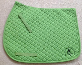"""English All Purpose Saddle Pad-Green-Embroidered - """"Horses Leave Hoofprints on our Hearts""""-Horse"""