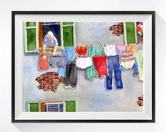 Italian Laundry Art Watercolor print Wash day clothesline Laundry room Mud room Funny wash room Bathroom wall art gray painting 14