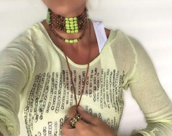 Multi strand Choker with Leather-Large Choker in Bright Neon Yellow Green Turquoise, Brown Semi Precious Stones and light Lime Green Leather