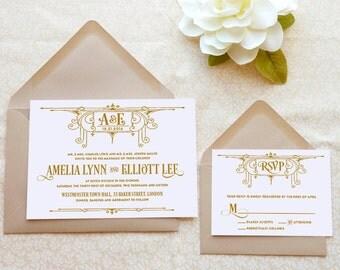 Deco Swirl Art Deco Wedding Invitations - 1920s wedding - Gatsby Wedding - Old Hollywood - Monogram Wedding - Art Nouveau Wedding