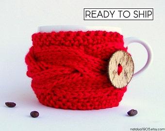 Red Coffee Mug Cozy, Coffee Cozy, Tea Cozy, Coffee Mug Sleeve, Coffee Sleeve, Coffee Cup Sleeve, Coffee Cup Cozy, Red Wedding Decor