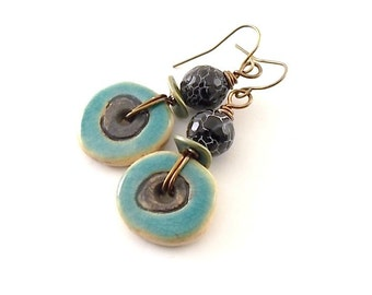 Black and Turquoise Circle Earrings - Ceramic Earrings - Artisan Earrings - Boho Earrings - Brass Earrings - Antique Brass Earrings - AE084