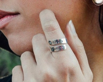 Personalized Wrap Ring, Silver Wrap Ring, Sterling Silver Wrap Ring, Personalized Ring, Gifts for Her, Customized Ring, Engraved Ring