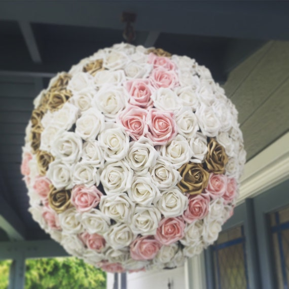 wedding pinata pomander guest book alternative white pink gold. Black Bedroom Furniture Sets. Home Design Ideas