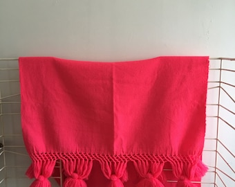 Vintage Mid Century Mexican Rebozo Runner Shawl Pom Poms Hot Pink Colorful Throw SALE
