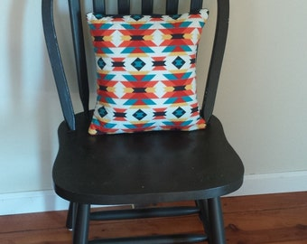 Quilted Tribal Print Pillow Cover with pillow insert included 12x12