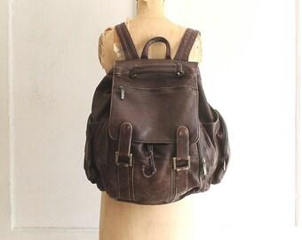 huge leather backpack weekender laptop bag Wilsons