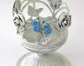 Vintage 60s Coro Earrings Modern Blue Thermoset Plastic Silvertone Metal Clip on Earrings Signed