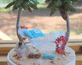 Base Attached Hawaii Honeymoon Hammock Champagne For Two Wedding Cake Topper Custom Colors Artisan Handmade To Order With Handmade Leis