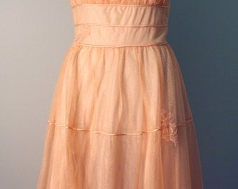 50s Peignoir Set: Gotham Gold Stripe Peach Coral Chiffon Nightie Negligee & Robe M