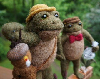 Needle Felted One of a kind Father and Son Toads Soft Sculpture by Bella McBride