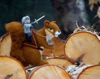 Needle Felted Red Squirrel and Knight Rider - Animal Needlefelted Wool Soft Sculpture by McBride House