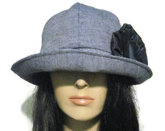 Blue Tweed Cloche Womens Winter Fashion