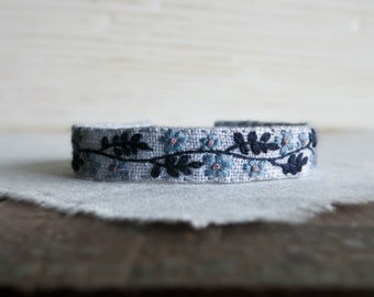 Blue Floral Textile Art Cuff Bracelet