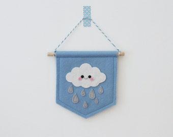 Blue Rain Cloud Felt Banner, Felt Pennant, White Cloud